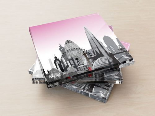 London Skyline Pink - Glass Coasters